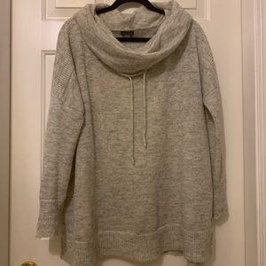 Eddie Bauer cowl hooded sweater, white/gray